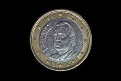 Één euro muntstuk, een deel van rug stock fotografie