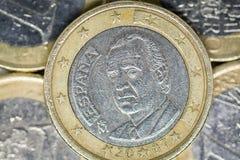 Één euro muntstuk, een deel van rug royalty-vrije stock foto's