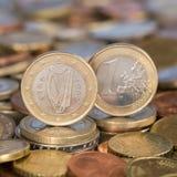 Één Euro muntstuk Ierland Ierland Stock Foto