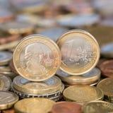 Één Euro muntstuk Oostenrijk Mozart Stock Fotografie