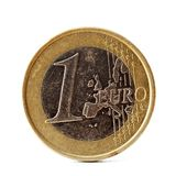 Één euro muntstuk op wit Royalty-vrije Stock Afbeeldingen