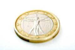 Één Euro muntstuk op wit Royalty-vrije Stock Foto