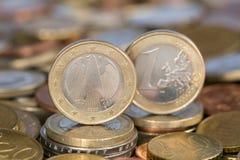 Één Euro muntstuk van Duitsland Stock Foto