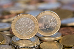 Één Euro muntstuk van Frankrijk stock foto