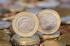 Één Euro muntstuk van Griekenland Stock Foto