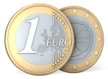 Één Euro muntstuk, voorzijde en rug vector illustratie