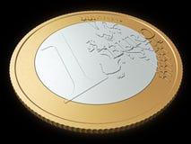 Één euro muntstukclose-up Royalty-vrije Stock Fotografie