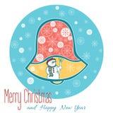 Één Geïsoleerde Kerstmisklok op Blauwe Achtergrond met Sneeuwman Stock Illustratie