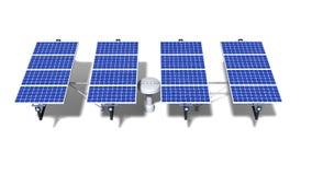 Één gearticuleerde zonnepaneelmodule bij middag stock afbeeldingen