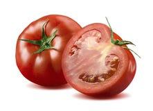 Één gehele tomaat en half geïsoleerd op witte achtergrond Royalty-vrije Stock Foto's