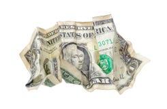 Één gerimpelde dollar die op wit wordt geïsoleerd Royalty-vrije Stock Foto's