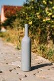 Één grijze fles op de weg van de tegels, het dorp, landelijk alcoholisme, dronkenschap alcoholische ziekte wijn natuurlijke drank royalty-vrije stock afbeelding