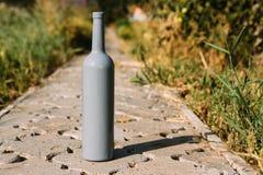 Één grijze fles op de weg van de tegels, het dorp, landelijk alcoholisme, dronkenschap alcoholische ziekte wijn natuurlijke drank stock foto's