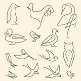 Één het embleemreeks van lijnvogels royalty-vrije illustratie