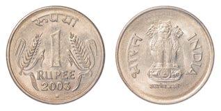 Één Indisch Roepiemuntstuk Stock Afbeelding