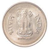Één Indisch Roepiemuntstuk Stock Afbeeldingen