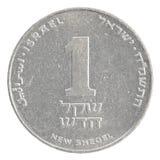 Één Israëlisch Nieuw Sheqel-muntstuk Royalty-vrije Stock Foto