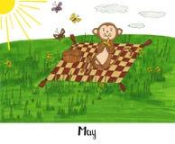 Één jaar in het leven van een aap Lulu Royalty-vrije Stock Afbeelding