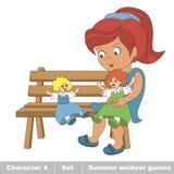 Één jong rood haarmeisje in blauw kledingsspel met haar stuk speelgoed pop  Stock Foto's