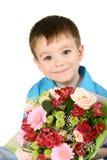 Één jongen met boeket van bloem royalty-vrije stock afbeeldingen