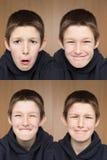 Één jongen vele gezichten Stock Foto