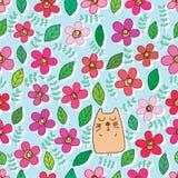 Één kat velen bloem kleurrijk naadloos patroon royalty-vrije illustratie