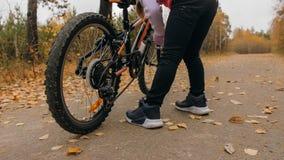 Één Kaukasische kinderengang met fiets in de herfstpark Het meisje die zwarte oranje cyclus in bosjong geitje lopen gaat  stock fotografie