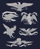 Één kleuren Indische schedel vectorillustrationhand Getrokken Uitstekend Eagle Vector Set Stock Fotografie