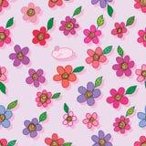 Één konijn velen bloem naadloos patroon vector illustratie
