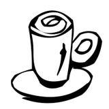 Één kop van koffie als klemart. Stock Fotografie