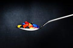 Één lepel van medicijn, pillen Stock Foto's