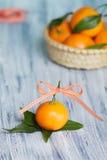 Één mandarin op doorbladert Stock Foto