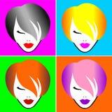 Één meisje-4 haarkleuren Abstract Beeld vector illustratie