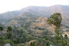 Één mening van de bergen van Himalayagebergte vanaf de bovenkant stock afbeelding