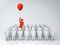 Één mens die vanaf andere mensen met rode ballon op witte grijze achtergrond met bezinningen vliegen Stock Fotografie
