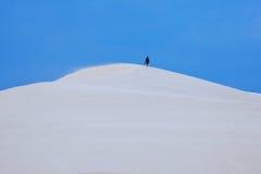 Één mens in woestijn Stock Afbeeldingen