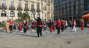 Één Miljard Toenemende Flitsmenigte Dans in Sheffield stock afbeelding