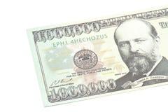 Één miljoen close-up van het dollarsbankbiljet Stock Afbeeldingen