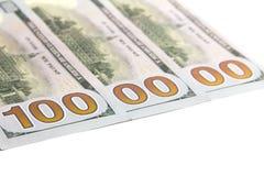 Één miljoen dolars Drie honderd dollarsrekeningen in de V.S. Witte achtergrond De ruimte van het exemplaar Geïsoleerde Royalty-vrije Stock Afbeelding