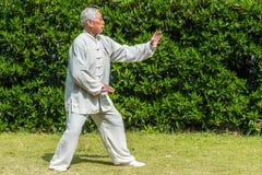 Één oude mens die kungfu in het fuxing van park Shanghai China uitoefenen stock afbeeldingen