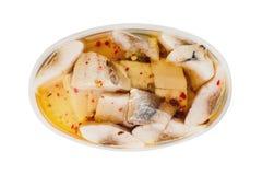 Één ovale transparante plastic container van ingeblikt die zeevruchten en kruid in marinade op witte achtergrond wordt geïsoleerd royalty-vrije stock fotografie