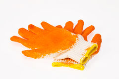 Één paar van handschoenensinaasappel Stock Afbeelding