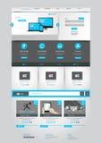 Één pagina bedrijfswebsitemalplaatje - schoon en eenvoudig homepageontwerp - - vectorillustratie Stock Foto