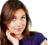 Één peinzende en creatieve jonge vrouw Stock Afbeelding