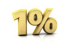 Één percent goud Royalty-vrije Stock Foto's