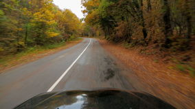 Één Personenauto die zich langs Asphalt Road In bewegen stock videobeelden