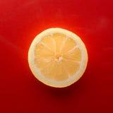 Één plak van citroen op rode achtergrond, regelt schot royalty-vrije stock fotografie