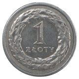 Één Pools Zloty-muntstuk Stock Fotografie