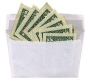 één postenvelop, geld, gerecycleerd geïsoleerde document,   Stock Afbeelding
