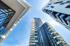 Één puntperspectief van gebouwen in Milaan Stock Foto's